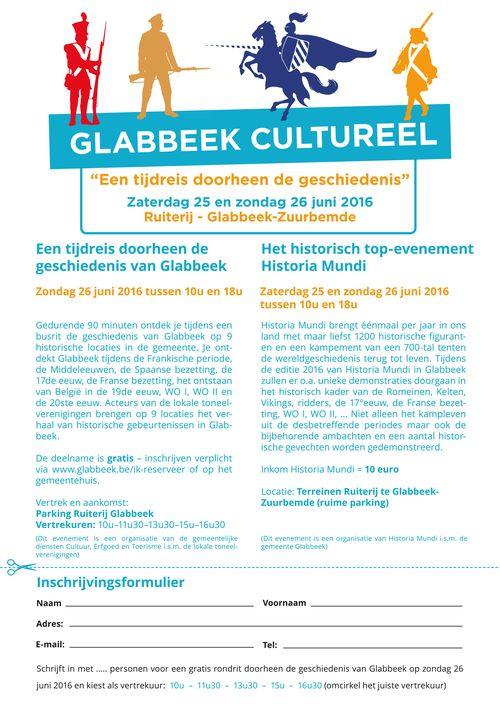 Glabbeek Cultureel 2016 inschrijving tijdreis