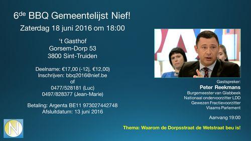 Uitnodiging BBQ Nief St Truiden met gasttoespraak Burgemeester Peter Reekmans