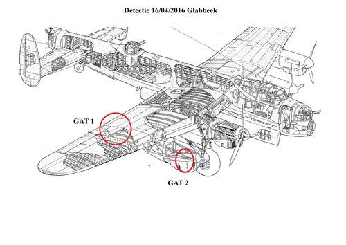 Schema gevonden onderdelen vliegtuig Palemenstraat Bunsbeek