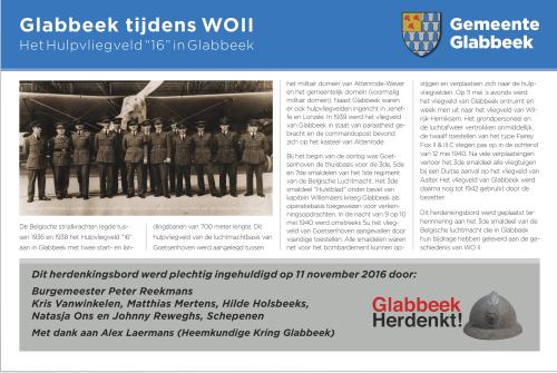 Herdenkingsbord vliegveld Glabbeek