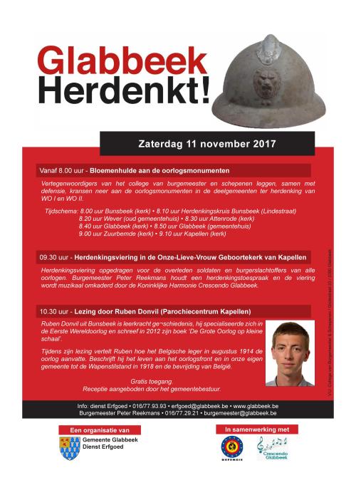 Affiche Glabbeek Herdenkt 11 nov 17