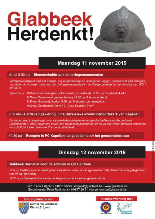 Affiche 11 november 2019 Glabbeek herdenkt