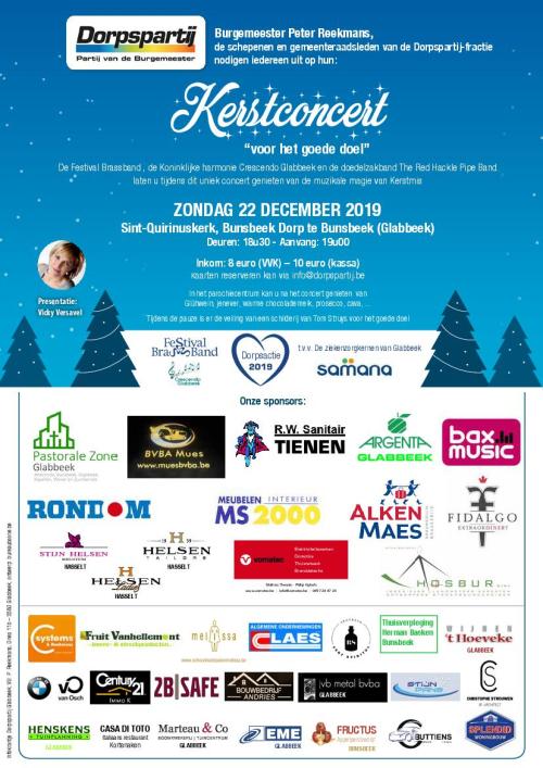 Affiche kerstconcert 2019 met sponsors