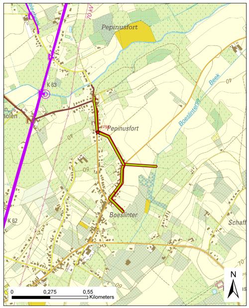 Traject fietspaden Pepinusfortstraat Boelinter en Hoeledensesteenweg