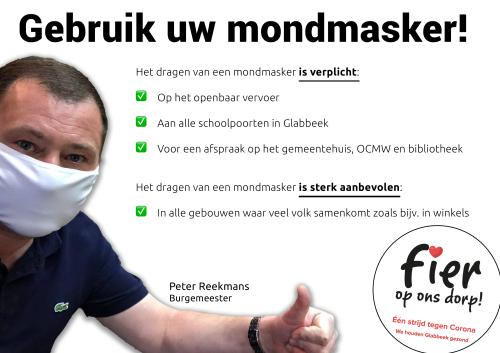 Campagne Glabbeek gebruik uw mondmasker