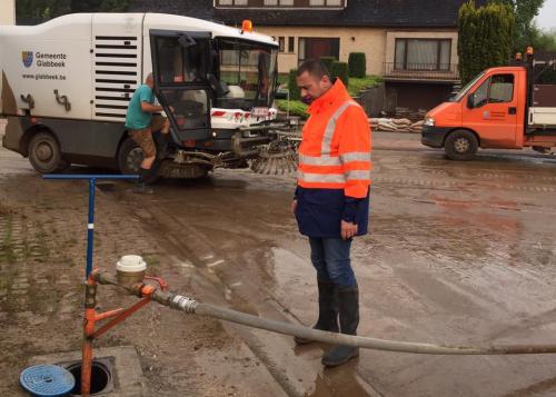 Burgemeester tijdens wateroverlast Glabbeek